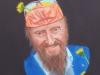 """(Portrait Prof. Ernst Fuchs) Öl/Lw 40 * 30 cm W. Rose Im Mai 2013 besuchten meine Tochter Inga und ich Uta Saabel und Prof. Ernst Fuchs in Hamm. Nachdem man unsere mitgebrachte Sachertorte sichtlich genossen hatte, machten wir 4 einen Rapsfeldspaziergang. Zur großen Freude aller schmückte sich Prof. Fuchs mit einigen Löwenzahnblüten mit der Bemerkung """"Kadmiumgelb ist eine meiner Lieblingsfarben"""". Abends gingen wir gemeinsam Pizzaessen in einem Restaurant mit großem Biergarten. Prof. Ernst Fuchs erzählte dabei von seiner Anfangszeit in Wien und von seinen Freunden Friedensreich Hundertwasser und Salvatore Dali. Ich hatte ein gemeinsames Foto mit ihm vor dem Phantastenmuseum in Wien in mein Lexikon der Surrealisten, Phantasten, Symbolisten, Visionäre von Prof. Gerhard Habarta. Auf dem Foto neben mir trug Prof. Ernst Fuchs einen Hut, Sonnenbrille, einen blauen Blazer und weiße Handschuhe. Ich zeigte ihm das Lexikon und er schrieb lachend darunter: """"Endlich wurde der Mafiaboss Ernst Fuchs gefasst und verhaftet, mit herzlichen Grüßen aus Sing Sing, Ernst Fuchs"""". Zum Abschied dieses unvergesslichen Tages schenkte er mir noch einen limitierten Druck seiner """"Totenkopfjägerin"""" mit persönlicher Widmung. Wir hatten viel Spaß zusammen im Mai 2013."""